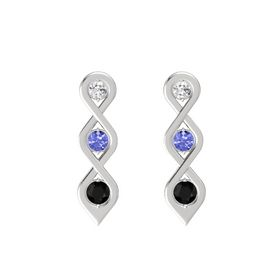 Round Tanzanite Sterling Silver Earrings with White Sapphire & Black Onyx