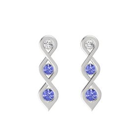 Round Tanzanite Sterling Silver Earring with White Sapphire and Tanzanite
