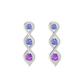 Round Tanzanite Sterling Silver Earring with Tanzanite and Amethyst