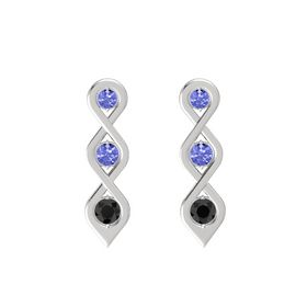 Round Tanzanite Sterling Silver Earring with Tanzanite and Black Diamond