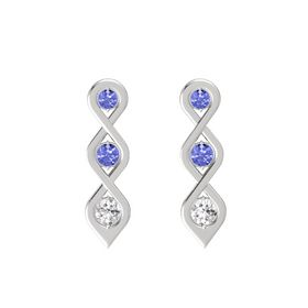 Round Tanzanite Sterling Silver Earring with Tanzanite and White Sapphire