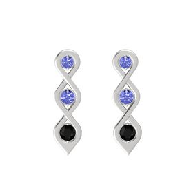 Round Tanzanite Sterling Silver Earring with Tanzanite and Black Onyx