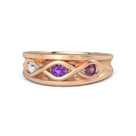 Round Amethyst 14K Rose Gold Ring with Rhodolite Garnet and White Sapphire