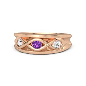 Round Amethyst 14K Rose Gold Ring with White Sapphire