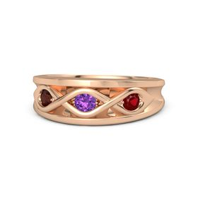 Round Amethyst 14K Rose Gold Ring with Ruby and Red Garnet
