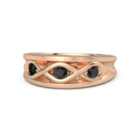 Round Black Diamond 14K Rose Gold Ring with Black Diamond and Black Onyx