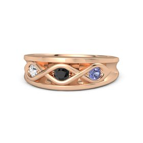 Round Black Diamond 14K Rose Gold Ring with Tanzanite & White Sapphire