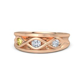 Round Diamond 14K Rose Gold Ring with Diamond and Yellow Sapphire