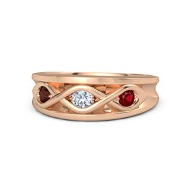 Round Diamond 14K Rose Gold Ring with Ruby and Red Garnet