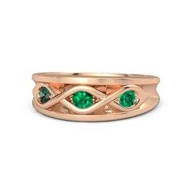 Round Emerald 14K Rose Gold Ring with Emerald & Alexandrite