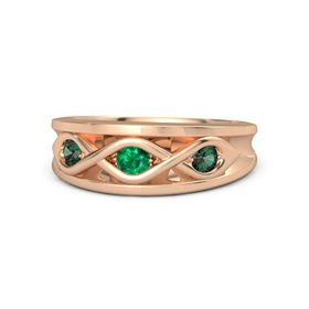 Round Emerald 14K Rose Gold Ring with Alexandrite