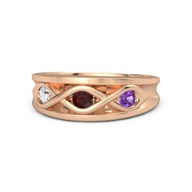 Round Red Garnet 14K Rose Gold Ring with Amethyst and White Sapphire