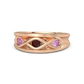 Round Red Garnet 14K Rose Gold Ring with Pink Sapphire and Pink Tourmaline