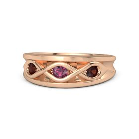Round Rhodolite Garnet 14K Rose Gold Ring with Red Garnet