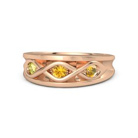 Round Citrine 14K Rose Gold Ring with Citrine and Yellow Sapphire