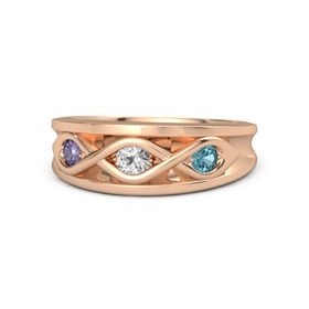 Round White Sapphire 14K Rose Gold Ring with London Blue Topaz and Iolite