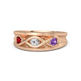 Round White Sapphire 14K Rose Gold Ring with Amethyst and Ruby