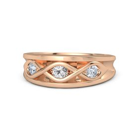 Round White Sapphire 14K Rose Gold Ring with Diamond