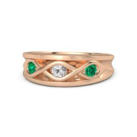 Round White Sapphire 14K Rose Gold Ring with Emerald