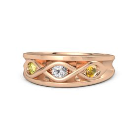 Round White Sapphire 14K Rose Gold Ring with Citrine and Yellow Sapphire