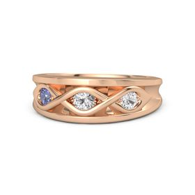Round White Sapphire 14K Rose Gold Ring with White Sapphire and Tanzanite