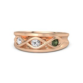Round White Sapphire 14K Rose Gold Ring with Green Tourmaline and White Sapphire