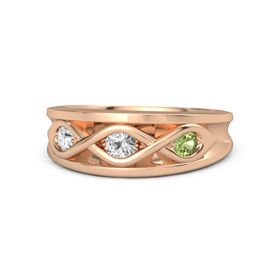 Round White Sapphire 14K Rose Gold Ring with Peridot & White Sapphire