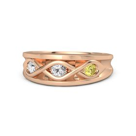Round White Sapphire 14K Rose Gold Ring with Yellow Sapphire and White Sapphire