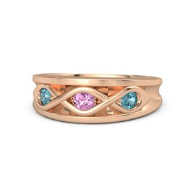 Round Pink Sapphire 14K Rose Gold Ring with London Blue Topaz