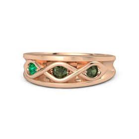 Round Green Tourmaline 14K Rose Gold Ring with Green Tourmaline and Emerald