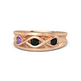 Round Black Onyx 14K Rose Gold Ring with Black Onyx and Amethyst