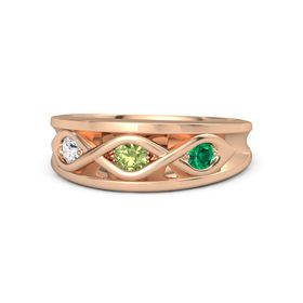 Round Peridot 14K Rose Gold Ring with Emerald and White Sapphire
