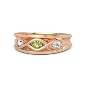 Round Peridot 14K Rose Gold Ring with White Sapphire