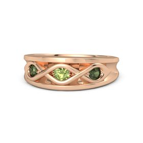 Round Peridot 14K Rose Gold Ring with Green Tourmaline