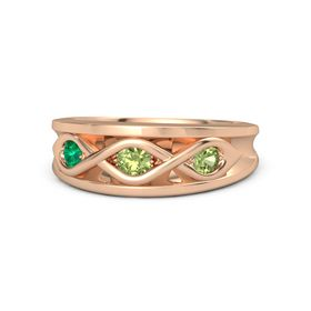 Round Peridot 14K Rose Gold Ring with Peridot and Emerald