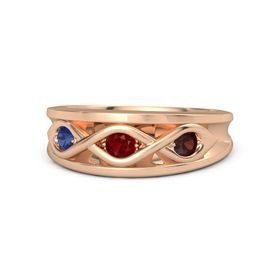 Round Ruby 14K Rose Gold Ring with Red Garnet and Blue Sapphire