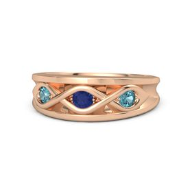 Round Sapphire 14K Rose Gold Ring with London Blue Topaz