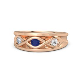Round Blue Sapphire 14K Rose Gold Ring with White Sapphire and Diamond