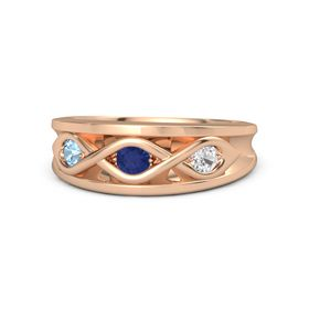 Round Blue Sapphire 14K Rose Gold Ring with White Sapphire and Blue Topaz