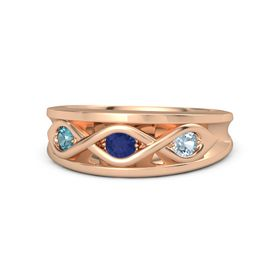 Round Blue Sapphire 14K Rose Gold Ring with Aquamarine and London Blue Topaz