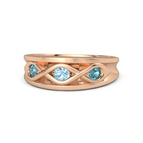 Round Blue Topaz 14K Rose Gold Ring with London Blue Topaz