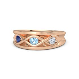 Round Blue Topaz 14K Rose Gold Ring with Diamond and Blue Sapphire
