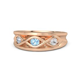 Round Blue Topaz 14K Rose Gold Ring with White Sapphire and Diamond