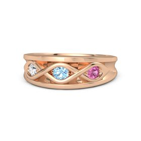 Round Blue Topaz 14K Rose Gold Ring with Pink Tourmaline and White Sapphire