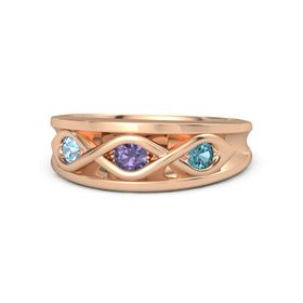 Round Iolite 14K Rose Gold Ring with London Blue Topaz and Blue Topaz
