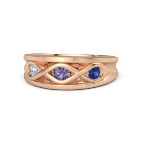 Round Iolite 14K Rose Gold Ring with Blue Sapphire and Diamond