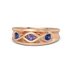 Round Iolite 14K Rose Gold Ring with Blue Sapphire
