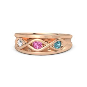 Round Pink Tourmaline 14K Rose Gold Ring with London Blue Topaz & White Sapphire