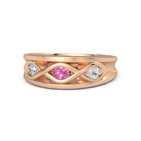 Round Pink Tourmaline 14K Rose Gold Ring with White Sapphire and Diamond