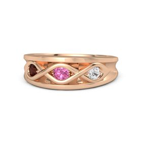 Round Pink Tourmaline 14K Rose Gold Ring with White Sapphire & Red Garnet